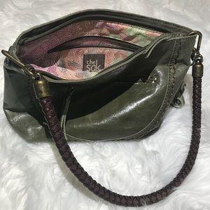 The Sak Indio Leather Hobo Bucket Bag. Green